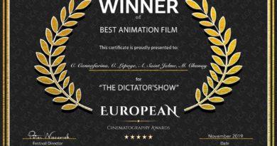 """""""THE DICTATOR'S SHOW"""" OBTIENT LE PRIX DU MEILLEUR FILM D'ANIMATION AUX EUROPEAN CINEMATOGRAPHY AWARDS"""